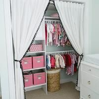 remove sliding closet doors and make coordinating drawback curtains... I really like the storage solutions in the closet