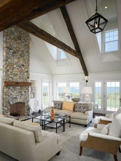 Vaulted ceiling with exposed rustic beams