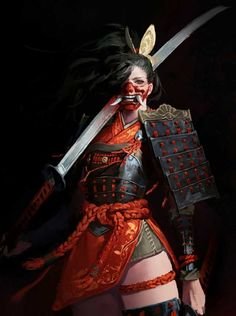 rebel samurai or warrior that was trained to kill by experts a hired assassin get to tangled in the case the only thing they didn't take away from her old life is her heart Fantasy Character Design, Character Concept, Character Inspiration, Character Art, Concept Art, Fantasy Girl, Fantasy Warrior, Fantasy Samurai, Female Samurai Art