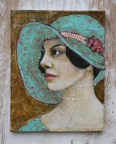 Jane Spakowsky DesRosier (aka Gritty Jane) - Her Spring Bonnet Painting People, Art For Art Sake, Mixed Media Art, Mix Media, Face Art, Art Techniques, Art World, Figurative Art, Japanese Art