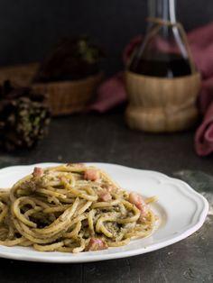 Spaghetti crema di carciofi e pancetta