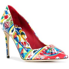 Dolce & Gabbana Bellucci Mambo print pumps ($745) ❤ liked on Polyvore featuring shoes, pumps, colorful pumps, summer pumps, leather pumps, stiletto pumps and multi colored pumps