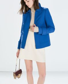 Image 2 of SHORT SEAMED JACKET WITH ZIP from Zara