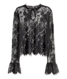 Kanten blouse   Zwart   Dames   H&M NL