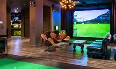Home Golf Simulator, Indoor Golf Simulator, Golf Bar, Symphony Of The Seas, Golf Room, Adventure Center, Golf Simulators, Dream Rooms, Chicago