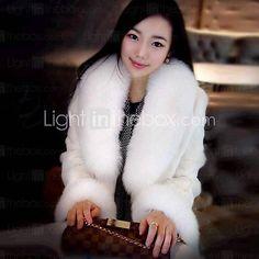 dámská módní luxusní high-grade velké límce imitace kožešiny teplý kabát - USD $128.99