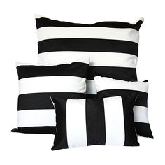 Create a statement outdoors with these black and White Sunbrella outdoor cushions with canvas striped pattern on front and back.