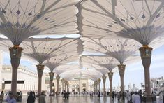 FEM Formfindung, Simulation, Form finding, membrandach, membrane roof, Umbrella, trichterschirm Madinah Piazza shading