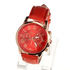 Fashion Red Roman Numerals Pattern Simple Design Alloy Ladies Watches :Asujewelry.com