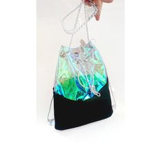 Clear holographic backpack, Bucket Bag, Tote Bag, felt backpack, 90s... (190 PLN) ❤ liked on Polyvore featuring bags, backpacks, tote handbags, hologram backpack, clear tote, backpack tote and clear tote bag