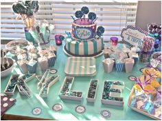 Purple   Aqua Carnival Baby Shower! Love this theme. And my babys name is used here. :-)