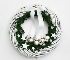 White Christmas wreath Holiday wreaths for front by BotanikaStudio Noel Christmas, Winter Christmas, Christmas Bulbs, White Wreath, Outdoor Christmas Decorations, Xmas Crafts, Holiday Wreaths, Advent Wreaths, Christmas Inspiration