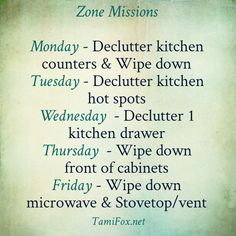 Getting Organized: In your home and homeschool Are you struggling with getting your Weekly Home Blessings done each week? I spoke at a conference over the weekend, and this was a question of several ladies. They are having a hard … Continue reading → Fly Lady Cleaning, Zone Cleaning, Cleaning Crew, House Cleaning Checklist, Weekly Cleaning, Cleaning Hacks, Cleaning Challenge, Cleaning Routines, Cleaning Lists