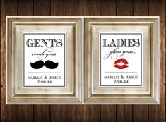 Set of 2 Bathroom Signs - Customized Ladies & Gents Wedding Restroom SIgns Photobooth Mustache Lips on Etsy, $19.00