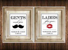 Lot de 2 panneaux de salle de bains - personnalisé Ladies & Gents mariage toilettes signes Photobooth moustache lèvres sur Etsy, 14,15€