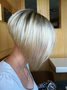 short stacked bob haircuts for fine hair inverted bob cut shaved under purple lotus cool Bob Hairstyles 2015 - Short Hairstyles for Women In this video girl has her hair cut into a really short bob haircut, along with… I love the dramatic angle. Stacked Bob Hairstyles, Short Bob Haircuts, 2015 Hairstyles, Short Hairstyles For Women, Haircut Bob, Celebrity Hairstyles, Wedding Hairstyles, Haircut Short, Layered Haircuts