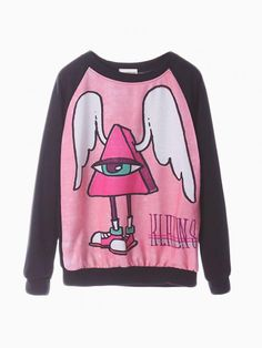 Cute Oversize Crew Tee With Angle Pattern - Choies.com