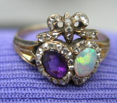 Double Heart and Crown Ring, Georgian, Amethyst and Garnet