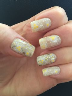 Color Club Who Are You Wearingstamped with FUN 20 and MdU Gold, and UC 3-03 and MdU white. Cover Girl Haughty Lemon for dots.