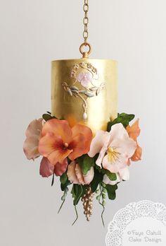 hanging gold leaf cake