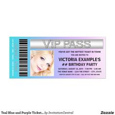 Teal Blue and Purple Ticket Birthday Party 4x9.25 Paper Invitation Card