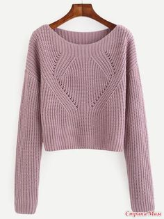 Shop Pale Purple Hollow Out Long Sleeve Sweater online. SheIn offers Pale Purple Hollow Out Long Sleeve Sweater & more to fit your fashionable needs. Handgestrickte Pullover, Pullover Sweaters, Purple Fashion, Fashion Black, Fashion Fashion, Fashion Ideas, Vintage Fashion, How To Purl Knit, Cable Knit Sweaters