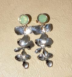 Swarovski crystal light green opal stud and by CrystallizedByLena