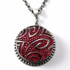 Vintage Button Necklace - Scarlet Deco Czech Glass