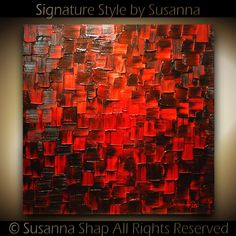 Original Large Modern Black Red Abstract Painting Fine Art on Canvas Thick Texture Palette Knife Oil Painting Ready to Hang by Susanna Best Abstract Paintings, Red Abstract Art, Oil Painting Abstract, Texture Painting, Diy Painting, Pollock Paintings, Diy Artwork, Canvas Art, Decoration