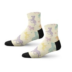 Express your carefree style with these fun socks showcasing playful zebras!