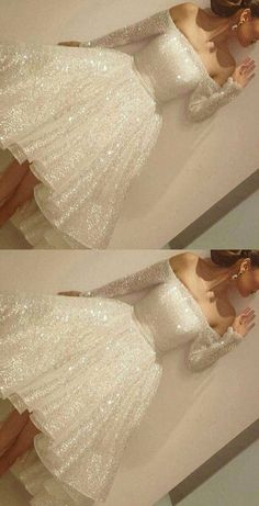 White Homecoming Dress,White Homecoming Dresses,Sequin Homecoming Gowns,Party Dress,High
