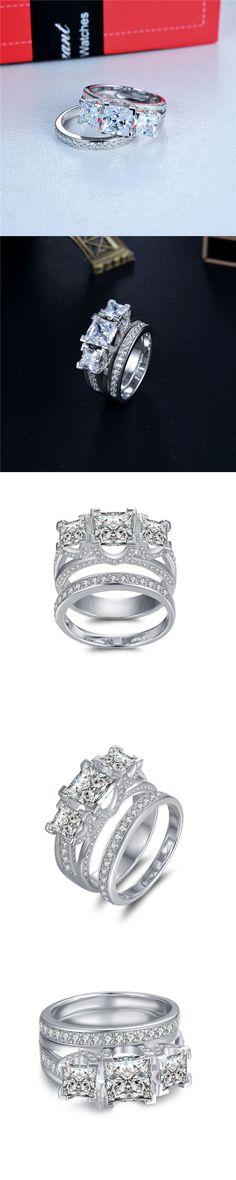 Lajerrio Jewelry Princess Cut White Sapphire S925 3-Stone Ring Sets