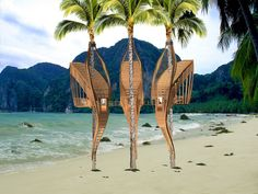 Treehouses in Paradise Competition: Taking something from a SCAM,Courtesy of Julie Winrow Floating Architecture, Bamboo Architecture, Contemporary Architecture, Architecture Design, Des Femmes D Gitanes, Tree Watercolor Painting, Pergola Ideas For Patio, Cool Tree Houses, Tree House Designs