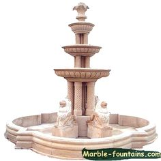 Decorative a Large Garden by Natural Marble 3 tier fountain or fountain Stone Fountains, Garden Fountains, Indoor Water Features, Yellow Marble, Indoor Fountain, Hand Carved, Home Improvement, New Homes, Carving