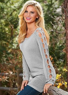 Light Grey Sleeve detail sweater tunic from VENUS. Sizes XS-XL!