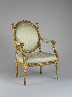 Fauteuil à la reine made for Marie Antoinette's dressing room at the Château of Saint Cloud, c. 1785 (carved and gilded beech) | The Metropolitan Museum of Art | LOUIS XVI: NEOCLASSICAL