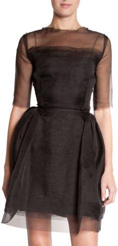 Sheer Sleeve Dress - Lyst
