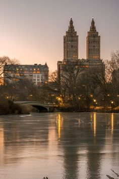 Central Park Bow Bridge Frozen Pond during winter with City lights in the background Frozen Pond, Empire State Of Mind, Winter Ideas, City Lights, Tower Bridge, Central Park, New York City, New York Skyline, Times Square