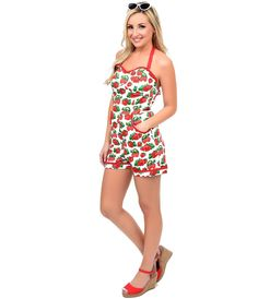 Collectif 1950s Style Red & White Berry Melina Halter Playsuit