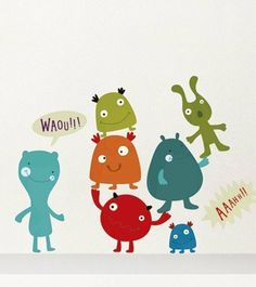 Cute Monster Wall Decal Set by Nouvelles Images Kids Room Wall Decals, Wall Stickers Murals, Wall Murals, Mobiles, Do It Yourself Design, Monster Stickers, Childrens Wall Art, Patchwork Baby, Cute Monsters