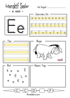 Interaktives E-Sound-Event ads Alphabet Worksheets, Kindergarten Worksheets, Turkish Language, Alphabet For Kids, Primary School, Phonics, Preschool, Activities, Reading