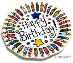 """13"""" BIG Happy Birthday platter with candles colorful and fun custom personalized"""