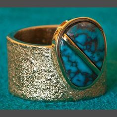Wes Willie 14K Gold and Bisbee Turquoise Ring
