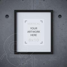 Black frame mockup, 8x10 mockup, Matted frame, Printable downloads, Styled stock photography, Digital product mockup, Concrete background