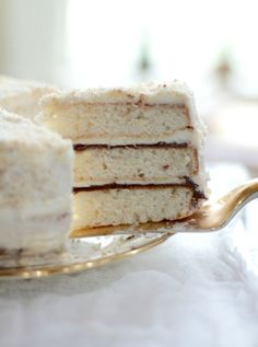 "coolchicstylepensiero: ""Coconut Layer Cake with Nutella Filling """