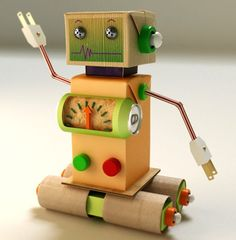 Tang Paper Toy Robot with colorful details. Great for fans of Designer Paper Toys or Fun & Games with Creative Robot Characters / By Julio Bonfante on Behance Kids Crafts, Projects For Kids, Diy For Kids, Diy And Crafts, Recycled Robot, Recycled Crafts, Recycled Materials, Cardboard Crafts, Paper Crafts