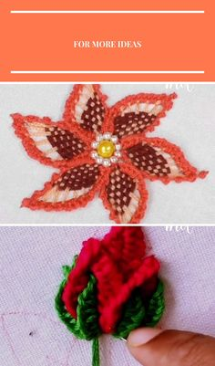 Beautiful flower design with woven spider web & buttonhole stitch. Broderie et Couture EMBROIDERY DESIGN