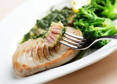 Seared Tuna with Pesto Sauce - Recipes for Healthy Living by the American Diabetes Association® Tuna Recipes, Sauce Recipes, Seafood Recipes, Dinner Recipes, Healthy Recipes, Healthy Meals, Yummy Recipes, Healthy Food, Lunches And Dinners