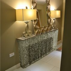 Grey Sparkle Crystal glass radiator cover
