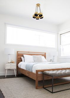 """This <a href=""""http://www.crateandbarrel.com/linea-bed/f34490"""" target=""""_blank"""">bed</a> was one of my favorite finds. If you've ever searched for an affordable modern wooden bed, you'll know it's not easy to find one that isn't $150,000. And it kind of makes me want a new bed to replace <a href=""""http://hommemaker.com/2014/08/07/a-new-bedroom-gets-newer-with-some-new-newness/"""" target=""""_blank"""">my new one</a>."""